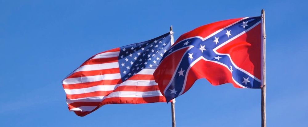 Confederate and U.S. flags